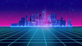 Os anos 80 futuristas retros da cidade do arranha-céus denominam a ilustração 3d Imagem de Stock Royalty Free