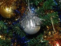 Os anos novos brincam no ouropel nos ramos das árvores Imagens de Stock