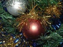 Os anos novos brincam no ouropel nos ramos das árvores Imagem de Stock Royalty Free