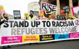Os anti protestadores do governo na Grâ Bretanha quebram-se/eleições gerais demonstração agora em Londres imagens de stock royalty free