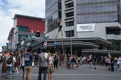 Os anti-TPPA protestors em Auckland Fotos de Stock