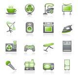 Os aparelhos electrodomésticos, ajustaram 2. série cinzenta e verde. Imagens de Stock Royalty Free