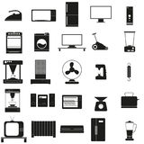 Os aparelhos eletrodomésticos ajustaram o ícone preto do vetor no branco Fotografia de Stock Royalty Free