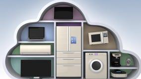 Os aparelhos eletrodomésticos na nuvem dão forma para o conceito de IOT ilustração do vetor