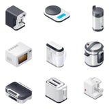 Os aparelhos eletrodomésticos detalharam os ícones isométricos ajustados, parte 2 Fotos de Stock Royalty Free