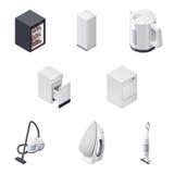 Os aparelhos eletrodomésticos detalharam os ícones isométricos ajustados, parte 3 Imagens de Stock Royalty Free
