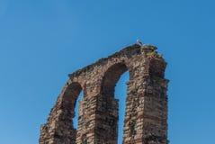 Os archs do aqueduto em Merida Fotografia de Stock
