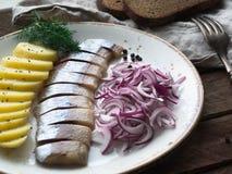 Os arenques pescam com fatias das batatas e a cebola vermelha Foto de Stock