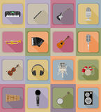 Os artigos da música e os ícones lisos do equipamento vector a ilustração Imagem de Stock