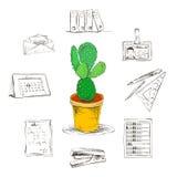 Os artigos de papelaria do escritório para negócios fornecem os ícones ajustados Imagens de Stock Royalty Free