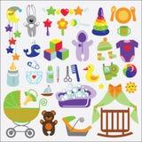 Os artigos recém-nascidos do bebê ajustaram a coleção Chuveiro de bebê Imagens de Stock