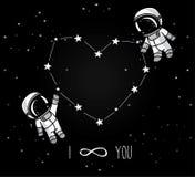 Os astronautas bonitos da garatuja acoplam-se e constelação formada coração ilustração stock