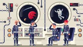 Os astronautas são homens e mulheres a bordo de uma nave espacial ilustração stock