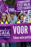 Os ativistas de Gaia do belga protestam nas ruas de Bruxelas Fotografia de Stock