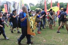 Os ativistas 2015 de Hong Kong marcham antes do voto no pacote eleitoral Imagem de Stock Royalty Free