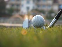 Os atletas colocaram as bolas de golfe para baixo no campo fotos de stock
