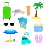 Os atributos de férias de verão Imagem de Stock Royalty Free