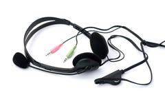 Os auriculares com o microfone com jaques isolaram-se Fotos de Stock Royalty Free