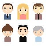 Os Avatars do homem e da mulher ajustaram-se com caras de sorriso Personagens de banda desenhada masculinos fêmeas Homem de negóc ilustração do vetor