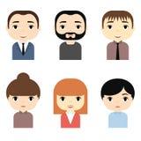 Os Avatars do homem e da mulher ajustaram-se com caras de sorriso Personagens de banda desenhada masculinos fêmeas Homem de negóc ilustração royalty free