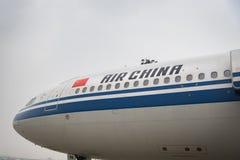 Os aviões de Air China Airbus aterraram no aeroporto do Pequim em China Imagem de Stock Royalty Free