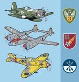Os aviões de combate da segunda guerra mundial do vintage ajustaram 2 Imagem de Stock Royalty Free