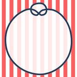 Os azuis marinhos redondos rope o quadro com um nó em fundo listrado, vetor Fotos de Stock Royalty Free