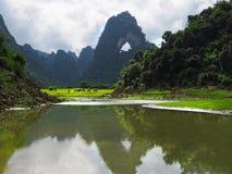 Os búfalos estão comendo sob Nui Thung em Cao Bang, Vietname imagens de stock