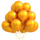Os balões amarelos party a laranja da decoração do carnaval do feliz aniversario Fotografia de Stock