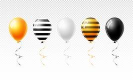 Os balões coloridos ajustaram-se para Dia das Bruxas isolaram-se na parte traseira transparente ilustração stock