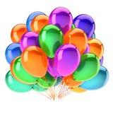 Os balões coloridos party o roxo verde alaranjado da decoração do aniversário Ilustração do Vetor