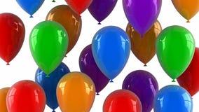 Os balões coloridos voam acima ilustração do vetor