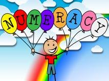 Os balões da numeracia representam a contagem numérica e o numeral Foto de Stock