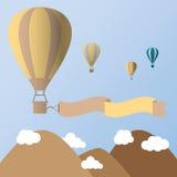 Os balões de ar quente no céu vector o ilustrador Foto de Stock Royalty Free
