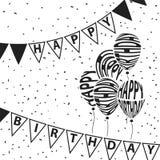 Os balões e o feliz aniversario das bandeiras do triângulo text o entortamento Imagens de Stock