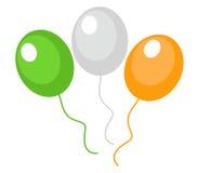 Os balões esverdeiam, laranja, branco, estilo liso do ícone Símbolo do dia do ` s de St Patrick Isolado no fundo Ilustração do ve Imagens de Stock Royalty Free