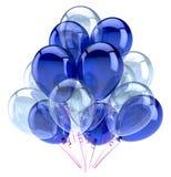 Os balões party lustroso branco azul da decoração do feliz aniversario Ilustração do Vetor
