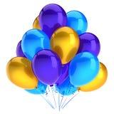 Os balões party o amarelo azul colorido da decoração do feliz aniversario Ilustração do Vetor