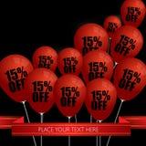 Os balões vermelhos com venda descontam 15 por cento Fotos de Stock