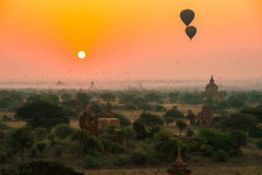 Os balões voam sobre mil dos templos no nascer do sol em Bagan, Myanmar Foto de Stock