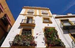 Os balcões decorados com flores azuis em uma rua na Espanha, Sevilha, - parede branca com no fundo foto de stock royalty free