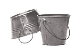 Os baldes do metal isolaram-se Fotos de Stock