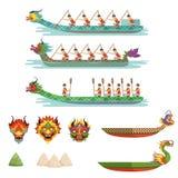 Os barcos ajustados, equipe do dragão dos atletas masculinos competem em ilustrações do vetor de Dragon Boat Festival ilustração royalty free