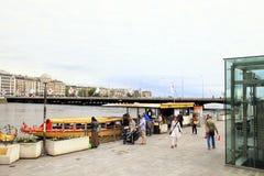 Os barcos de Mouettes param nos bancos ao longo do lago Genebra, Genebra, Swit Imagens de Stock
