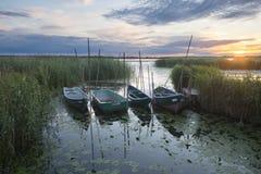 Os barcos de pesca amarraram na ponte de madeira pequena sobre o rio Fotos de Stock Royalty Free