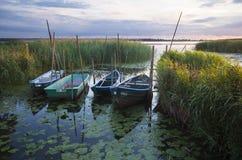 Os barcos de pesca amarraram na ponte de madeira pequena sobre o rio Imagem de Stock