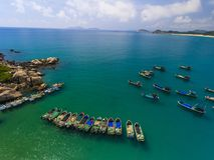 Os barcos de pesca & a baía Foto de Stock Royalty Free