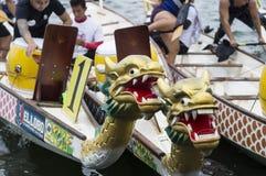 Os barcos nativos da cabeça do dragão da fileira dos esportes estacionados no lago suportam durante Dragon Cup Competition imagem de stock