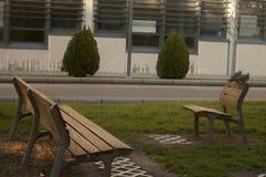 Os benchs e os pássaros Fotografia de Stock Royalty Free