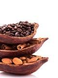 Os benefícios de beber o cacau e a aromaterapia quentes do cacau, canela, café para o rafrescamento da manhã, arranjaram tão perf Imagens de Stock Royalty Free